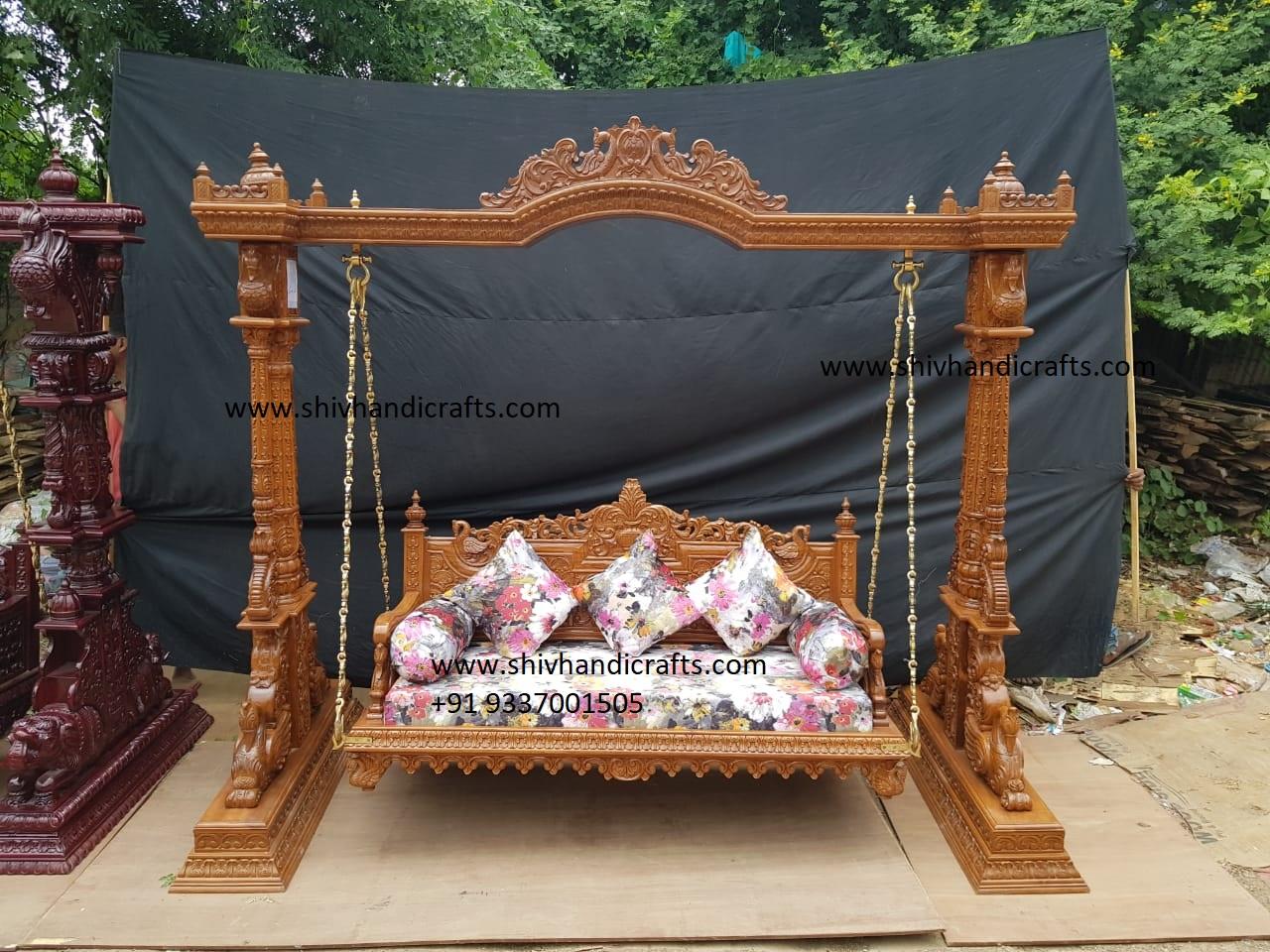 Indoor Handcrafted Wooden Three Seater Swing