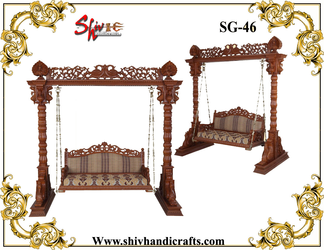 Handicrafted Wooden Two Seater Swing