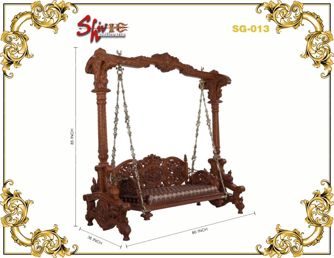 Handicrafted Wooden Two Seater Reversible Swing