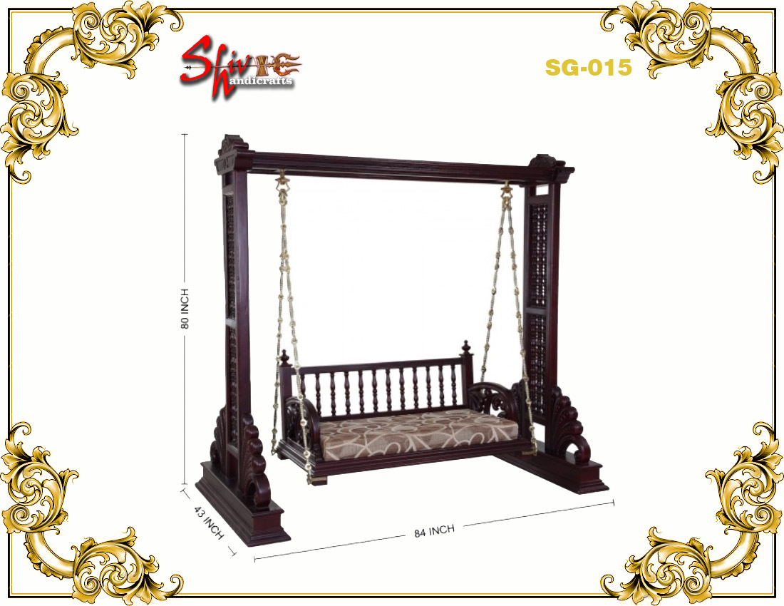 Indoor Handcrafted Wooden Two Seater Swing